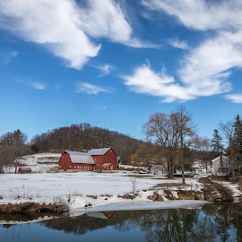 Farm and Clouds by Bob Ricketson - Buildings & Architecture Other Exteriors ( greene county, winter, february, catskills, sunny, snow, hudson valley, wandering, landscape )