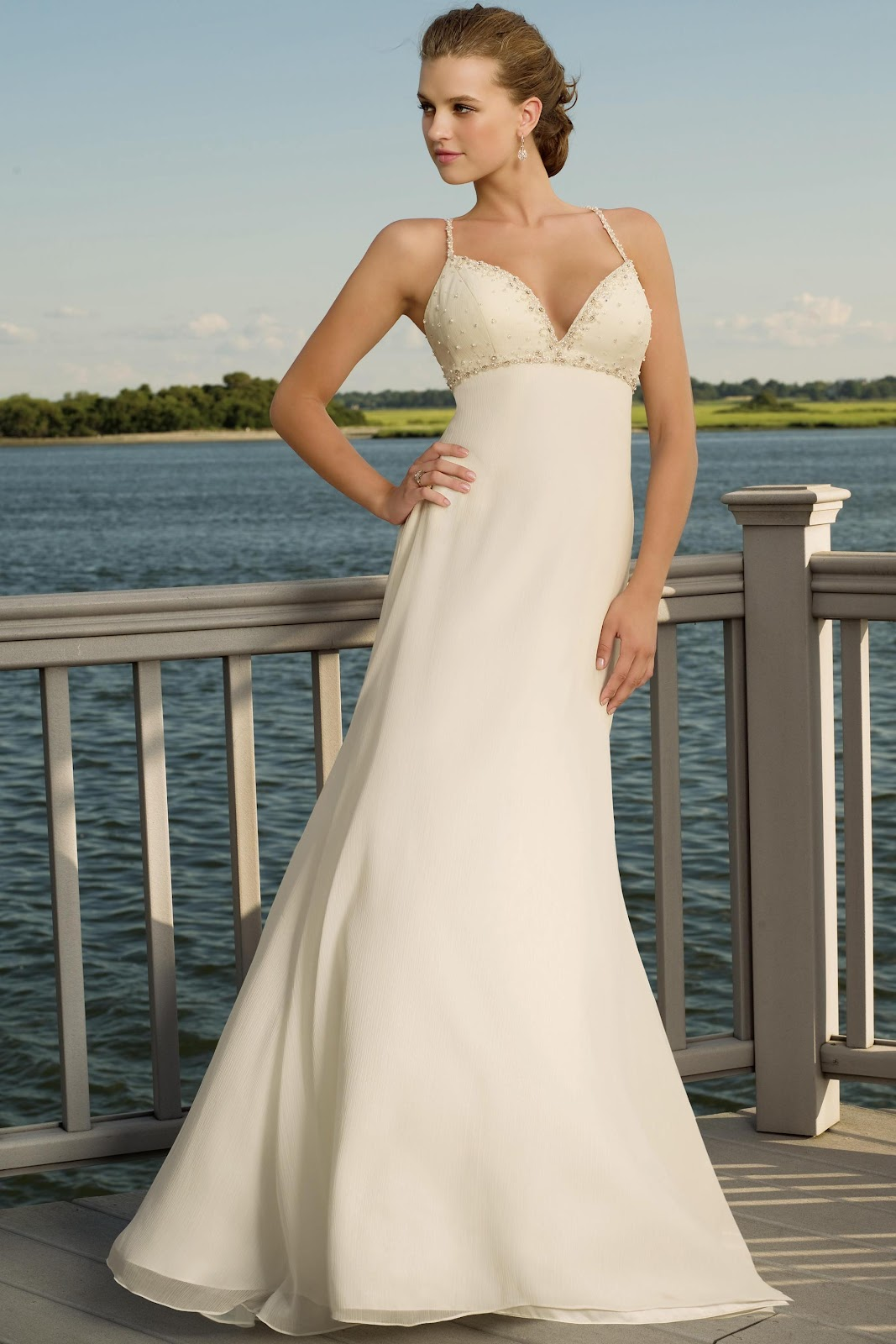 Strapless Simple Beach Wedding Dresses