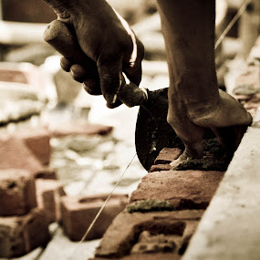 Expert hands! by Rajarshi Mitra - People Body Parts ( hands, brick, morter, pwchands, man, labour )