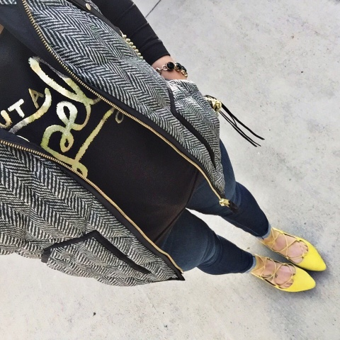 j. crew vest, lace up flats, mom style