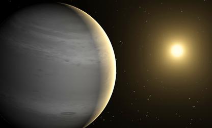 ilustração de um exoplaneta com atmosfera de hélio