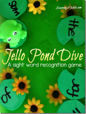 Jello Pond Sight Word Game - This is such a fun, hands on way for preschool, kindergarten, and 1st grade kids to practice sight words.