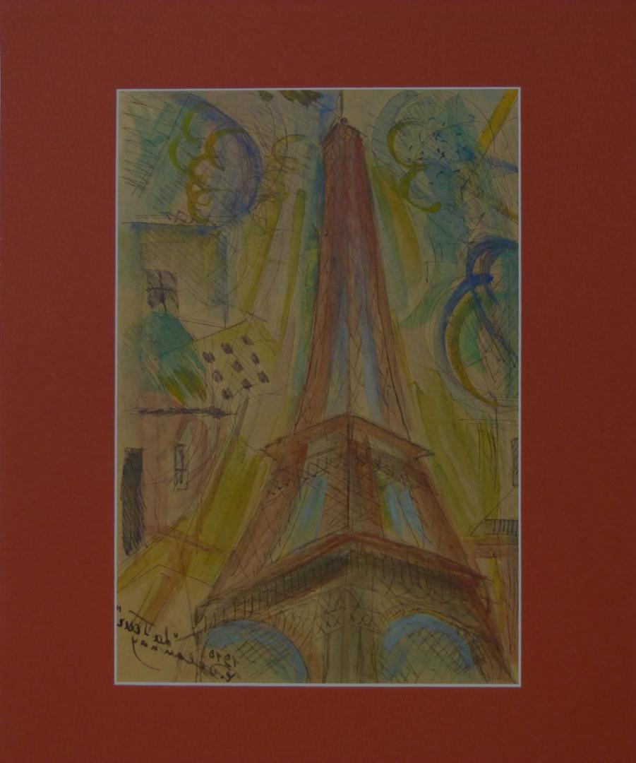 Depicts the Eiffel Tower with
