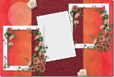 Red background photo frame sample