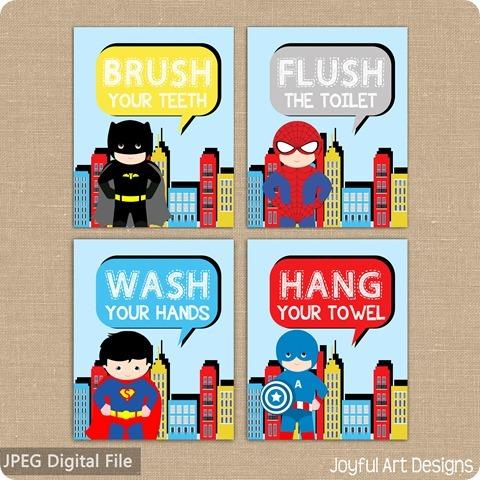 ETSY Listing superhero bathroom