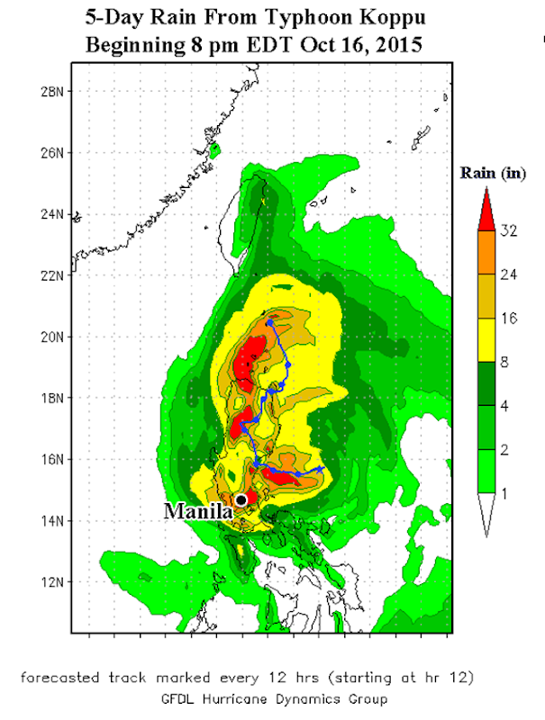 Predicted 5-day rainfall amounts from Typhoon Koppu from the 00Z Saturday (8 pm EDT Friday) 17 October 2015 run of the GFDL model. Widespread rainfall amounts in excess of two feet (orange and red colors) were predicted for the Philippines' Luzon Island, north of the capital of Manila. Graphic: NOAA / GFDL