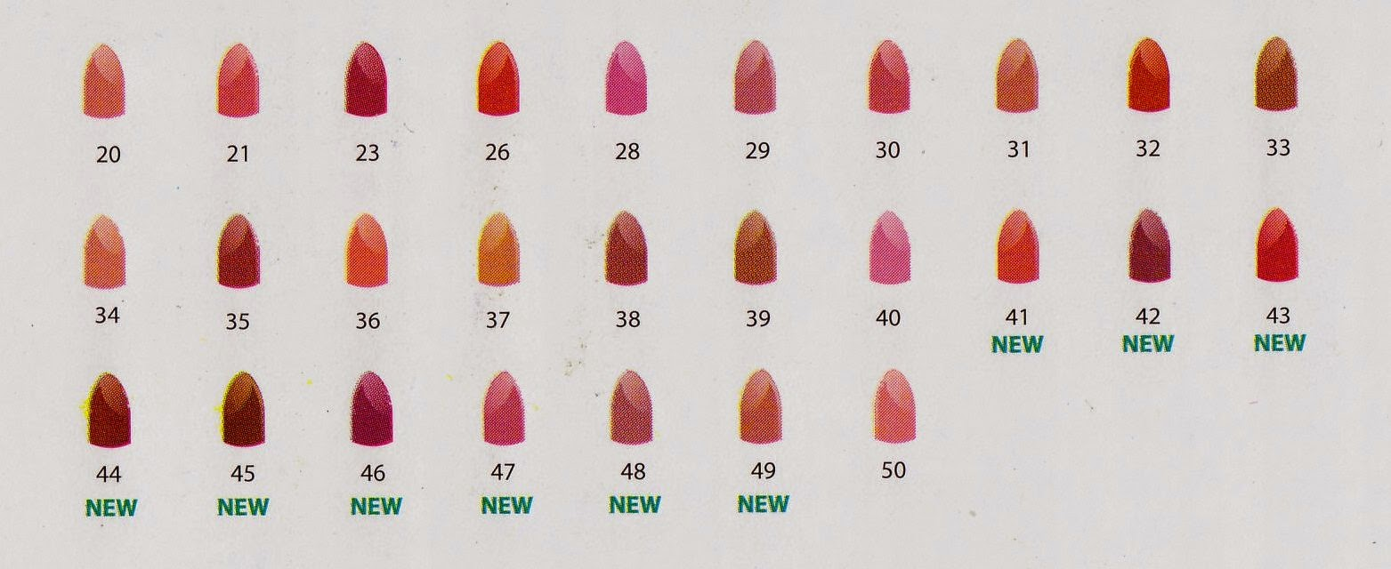 34 Sweet Orchid 35 Great Berry 36 Sugary Pink 37 Pink Lovers 38 Red Brown 39 Warm Rose 40 Diva 41 Urban Red 42 Precious Violet 43 Cotton Candy
