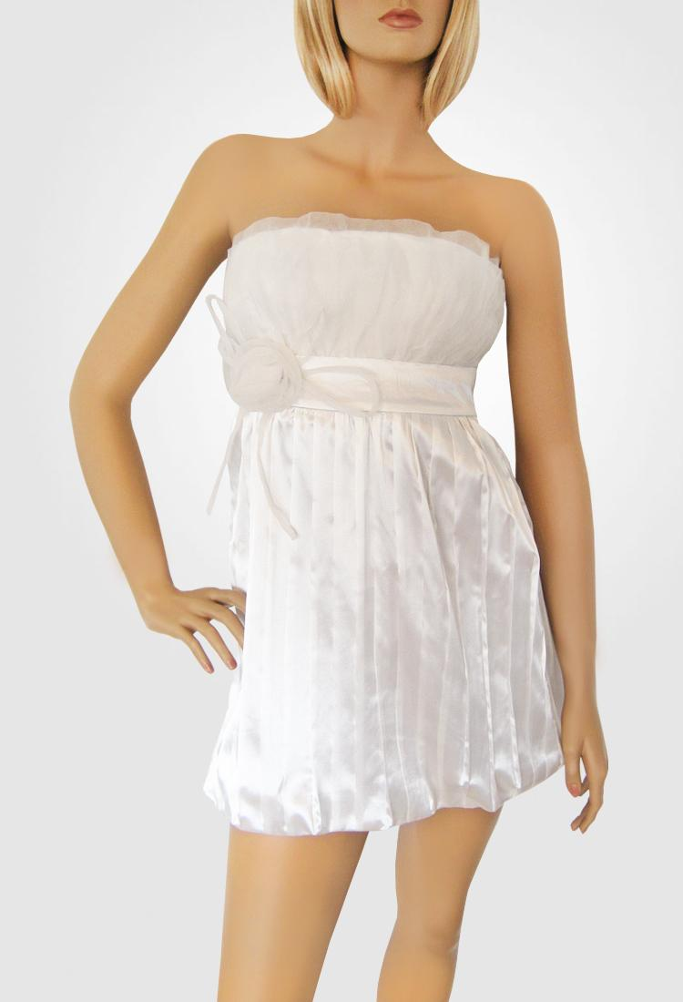 White Satiny Strapless Dress