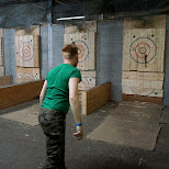 almost bullseye at BATL axe throwing Toronto in Toronto, Ontario, Canada
