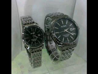 Jam Tangan Alba kw couple hitam steinless