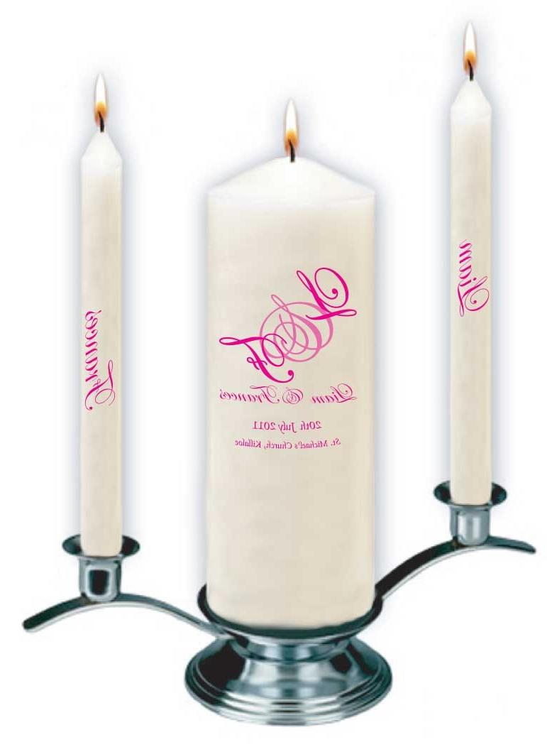 Triple wedding candles set in