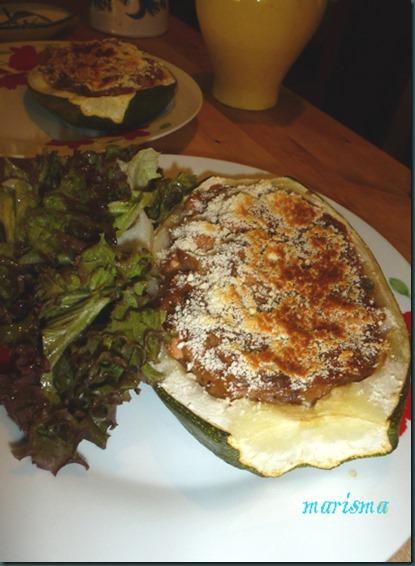 calabacines rellenos de pollo y verdura,racion copia