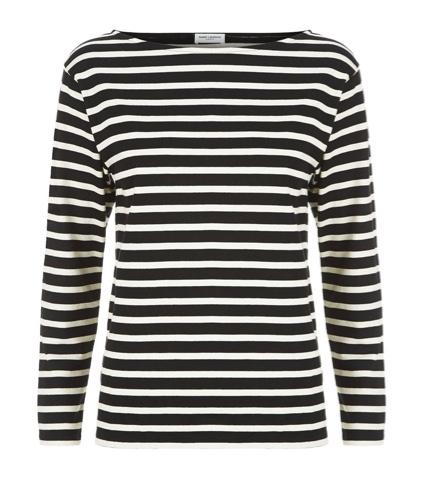 Saint Laurent Black & White Striped Cotton Breton Top, Harrods.com