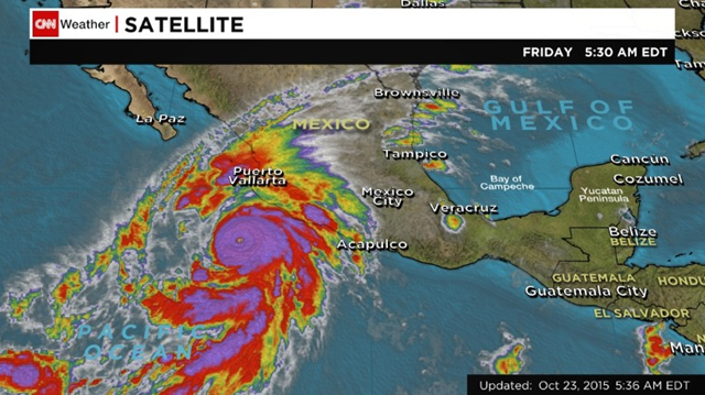 A satellite image shows Hurricane Patricia in the Pacific at 5:30 a.m. ET on Friday, 23 OCtober 2015. Graphic: CNN Weather