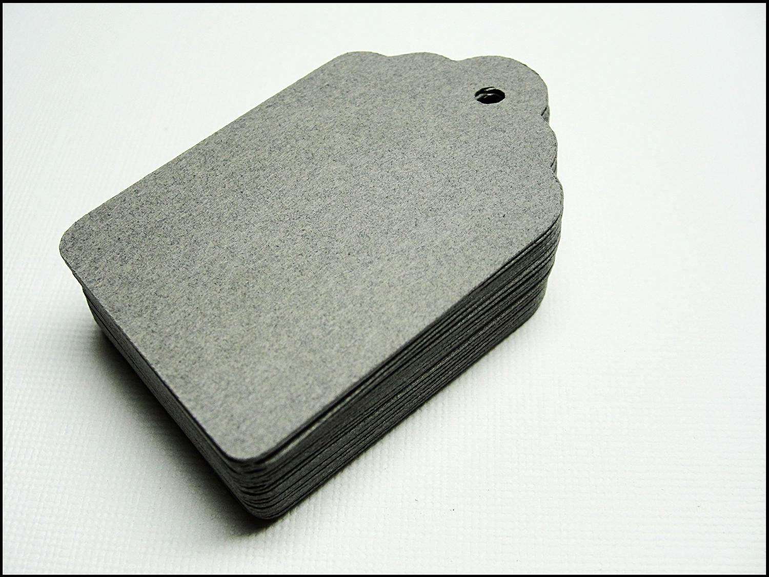 50 Mini Dark Steel Gray Scallop Paper Cardstock Hang Tags - Price Tags,