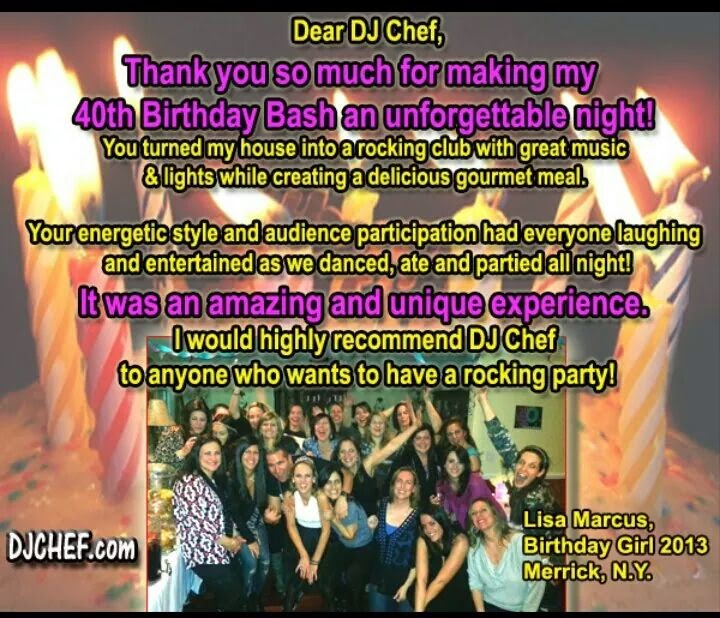 Spice Up Your Birthday Party W DJ CHEF Long Island Hamptons NJ Jersey Connecticut Westchester Rockland County CT Philly Philadelphia PA