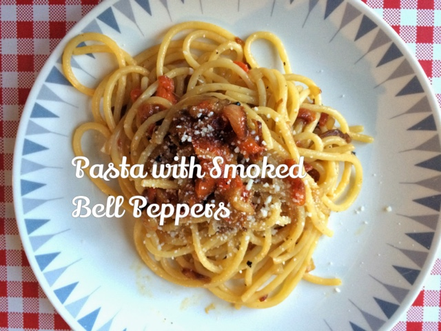 Pasta with smoked bell peppers.