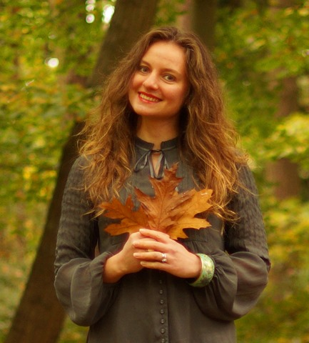 autumn leaves and a grey blouse