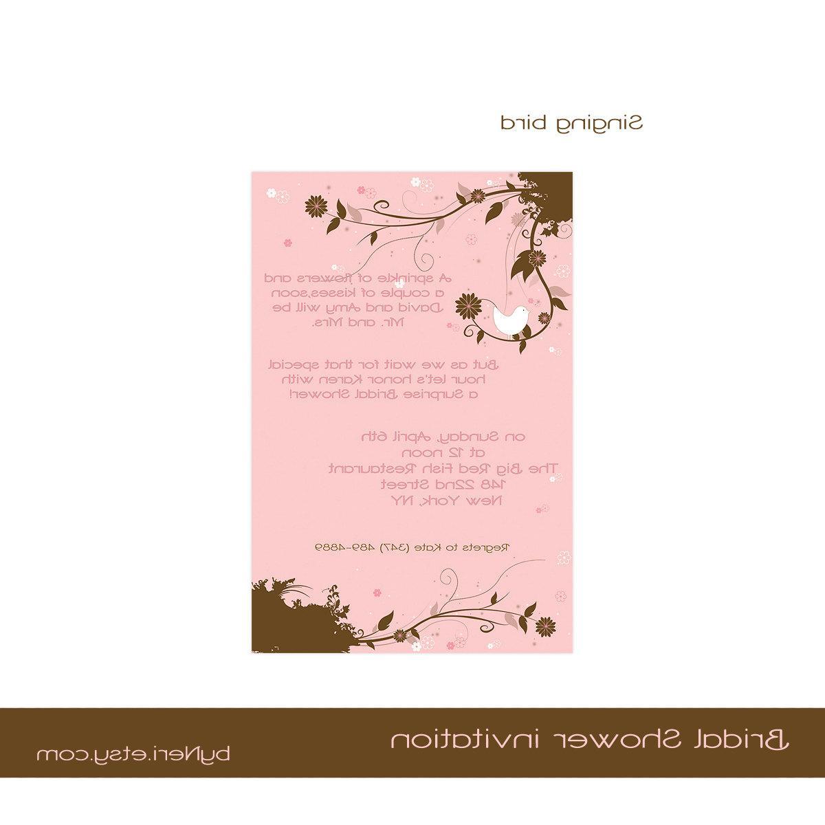 Singing Bird - Bridal Shower Invitations - Digital file, sent within 24