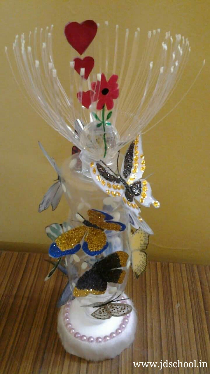 Decoration idea from waste plastic bottle crazzy craft for Craft ideas from waste