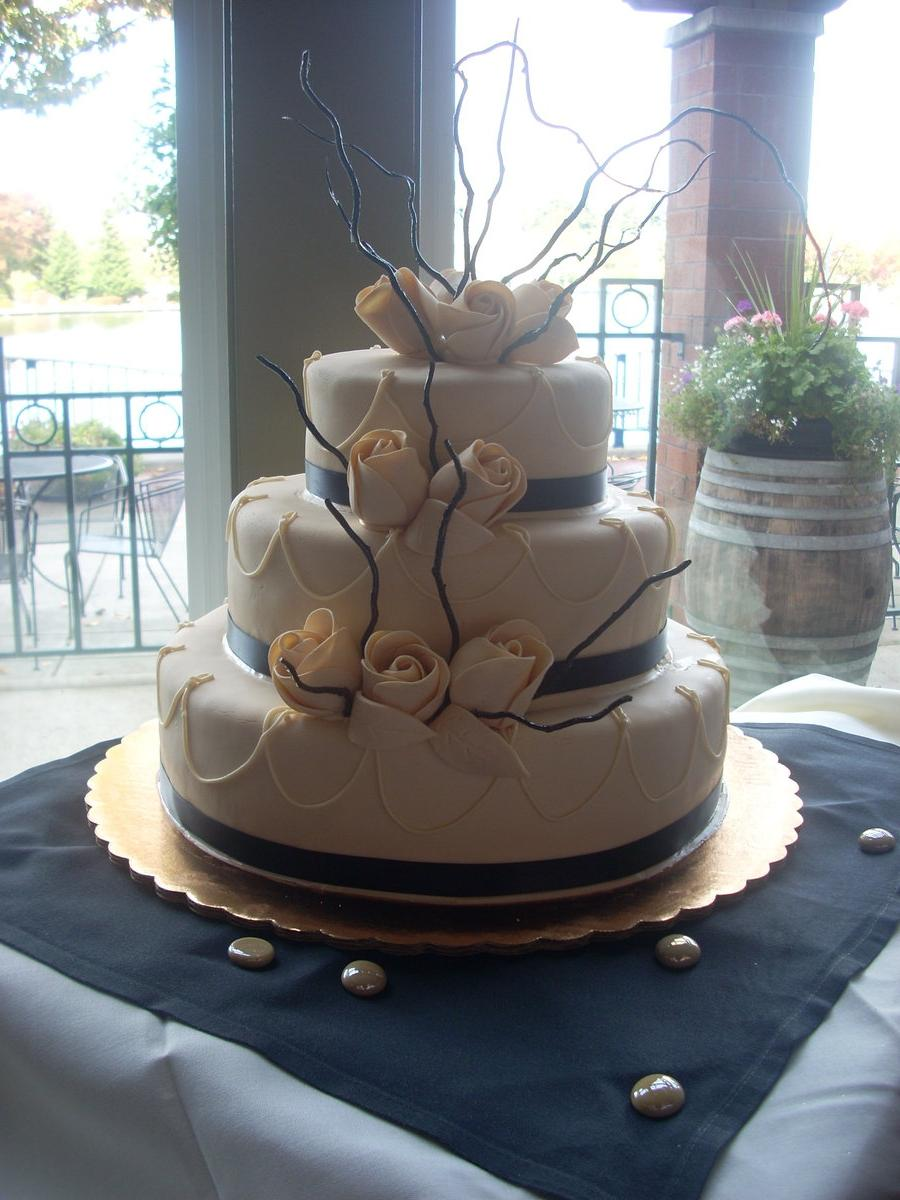 Ivory and Black Wedding Cake