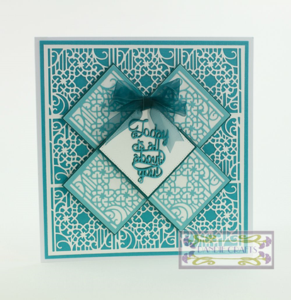 Patchwork Perfection Blue and Cream lattice Card Sep 15