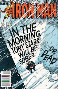 The cover of Iron Man 182, when Tony Stark hits bottom as an alcoholic