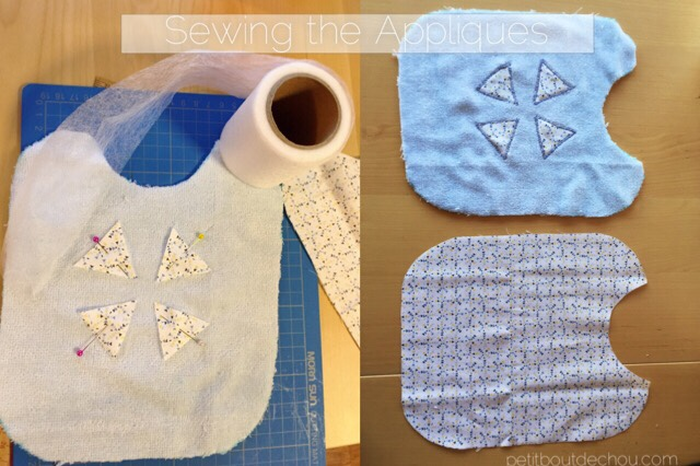 fix triangle appliques using interface adhesive cloth