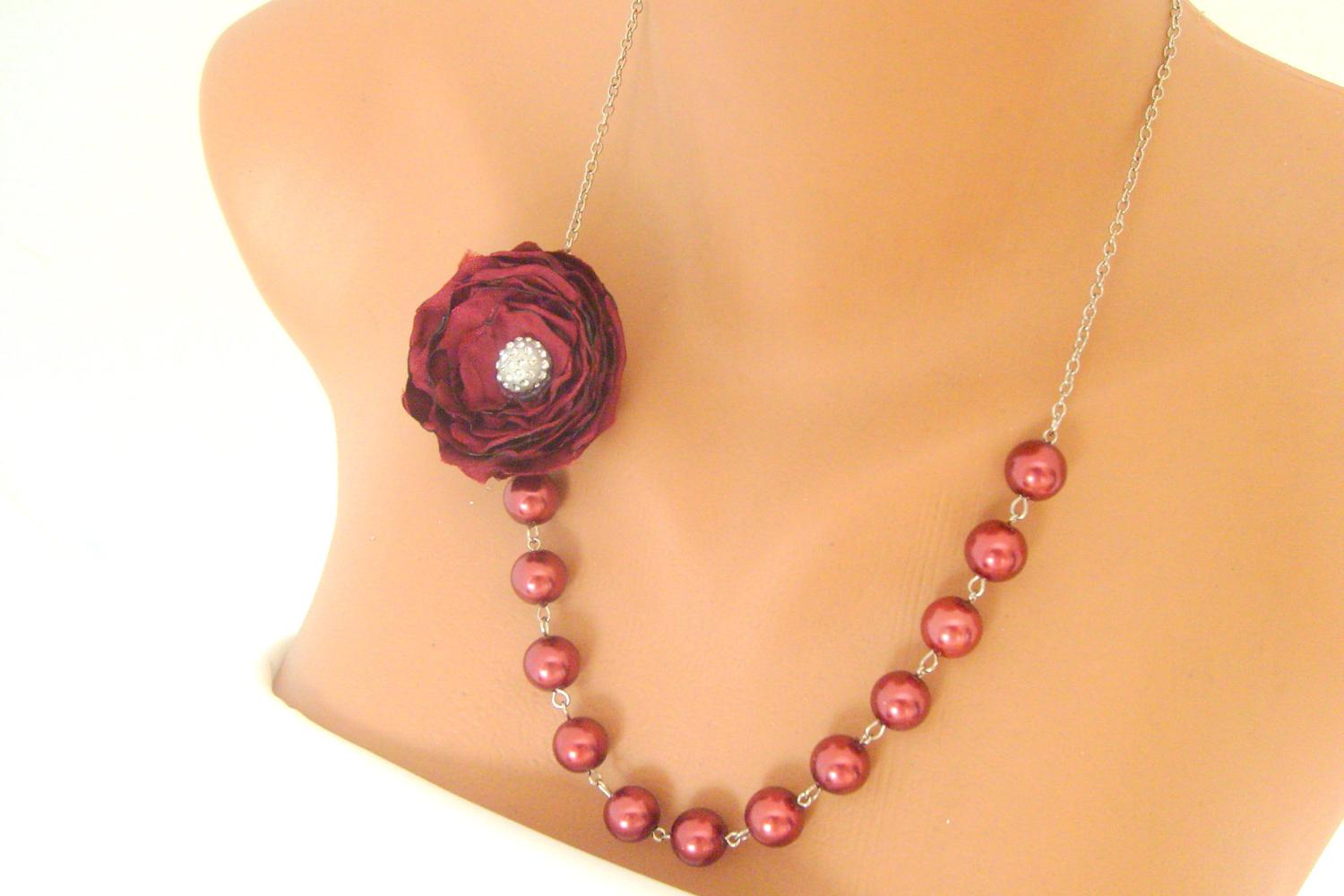 burgundy satin flower wedding necklace designed with ivory pearls bridal