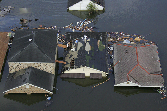 Aerial view of flooded homes in New Orleans after Hurricane Katrina, August 2005. Photo: weather.com