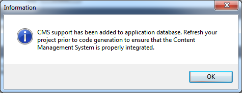 Confirmation of succesful installation of CMS in the project database.