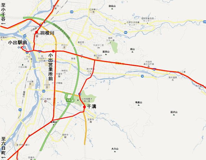 小出駅バス路線図