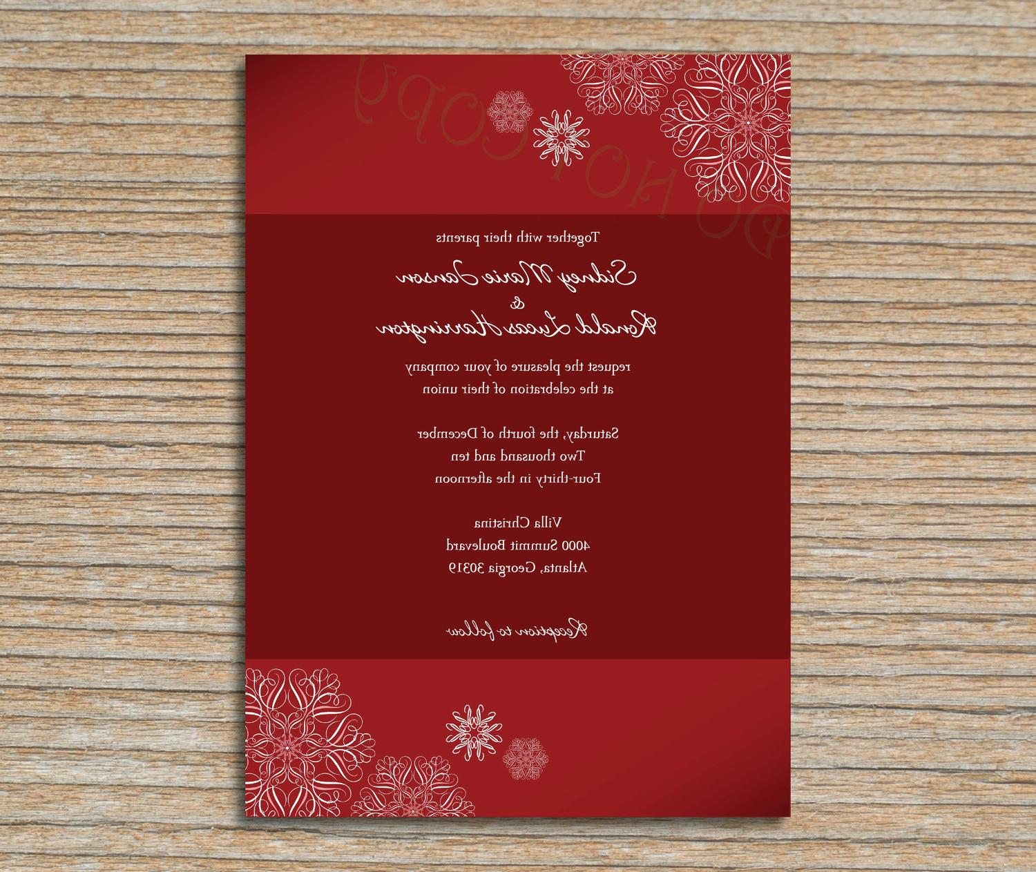 Wedding Invitation - Snowflakes in Red and White - Winter Holiday or