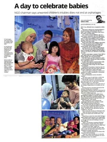 Hari Bayi Pertama Bayi di Malaysia | Tollyjoy dan Yayasan Orphancare dalam akhbar The Star
