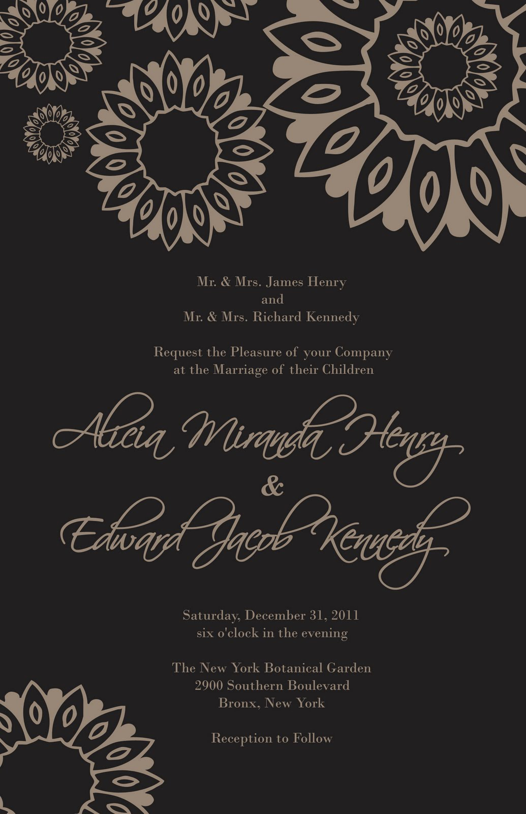 Free Damask Wedding Invitation