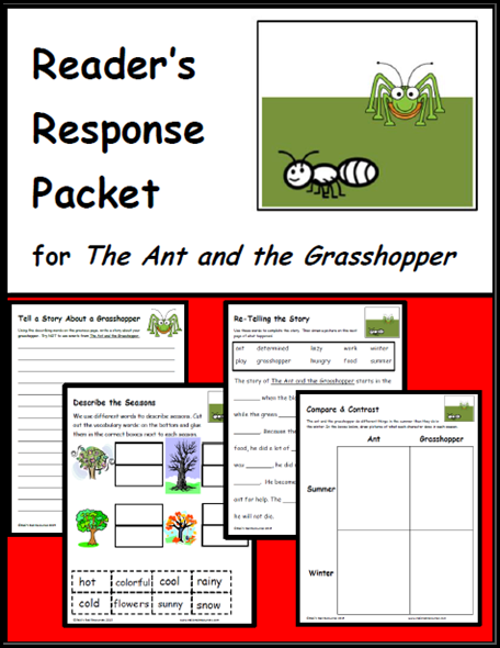 the ant and the grasshopper reader's response packet