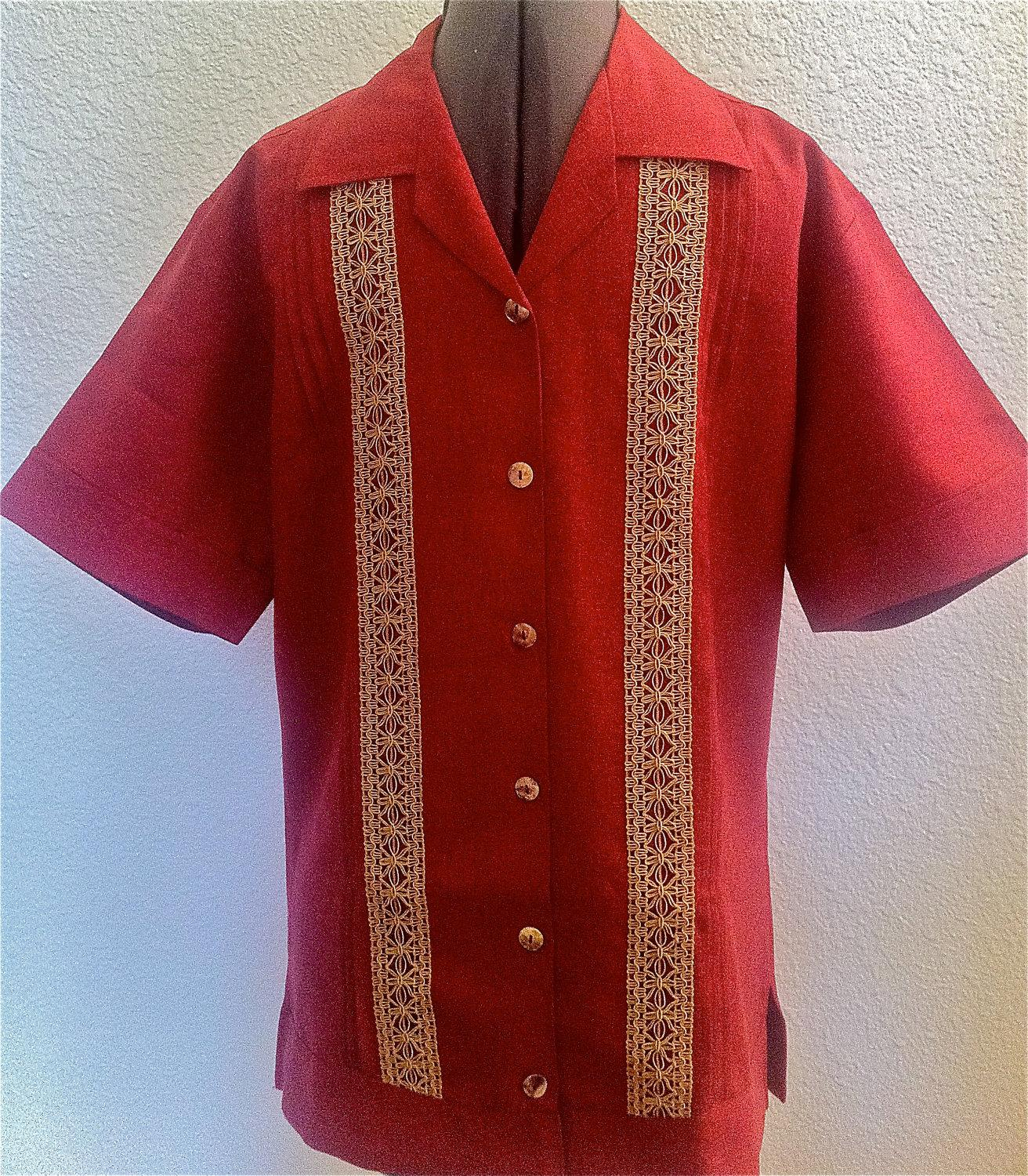 RED Hemp Guayabera, Wedding,