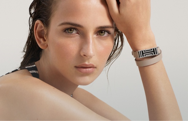 Tory Burch for Fitbit Fret Double-Wrap Bracelet in French grey/Tory silver | Source: Fitbit.com