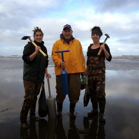 Family clam digging, Washington Coast