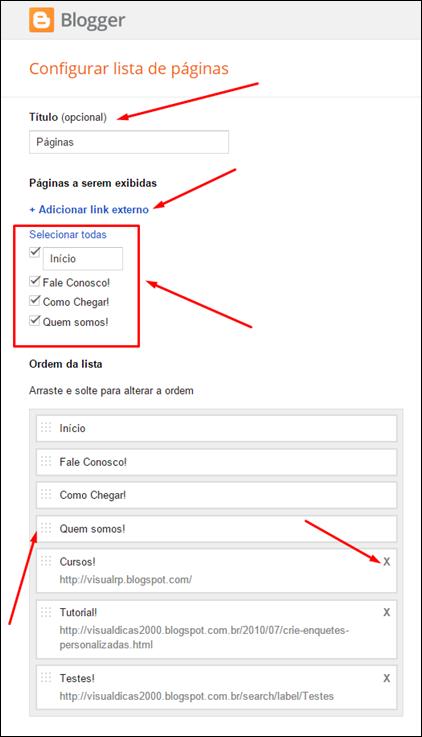 Como criar um menu simples na nova interface do Blogger (2015) - Visual Dicas