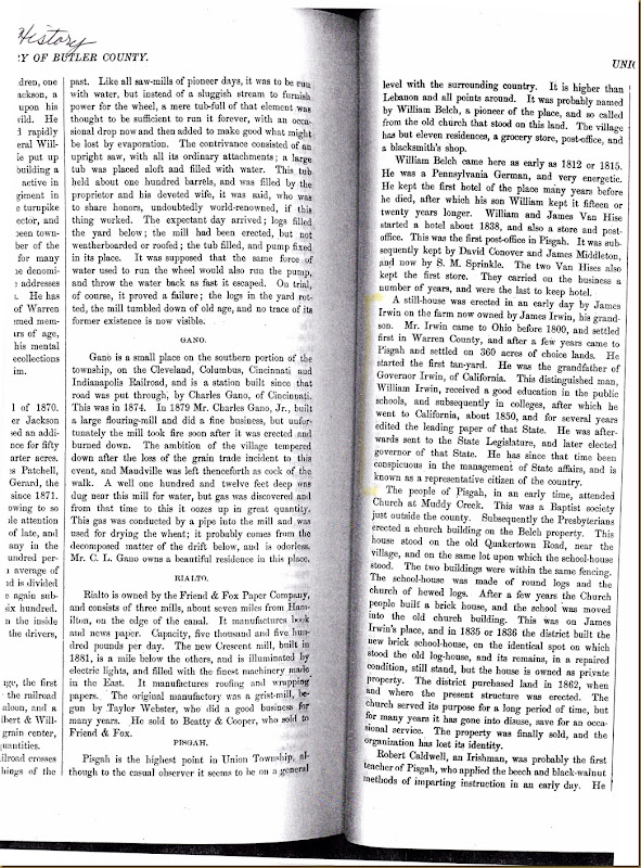 James Irwin settles Pisgah, Union Twp, Butler Co, Ohio 1800