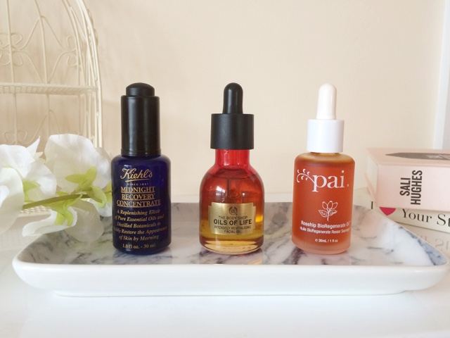 facial oils, skincare for oily skin, kiehls midnight recovery concentrate, pai rosehip oil, the body shop oils of life