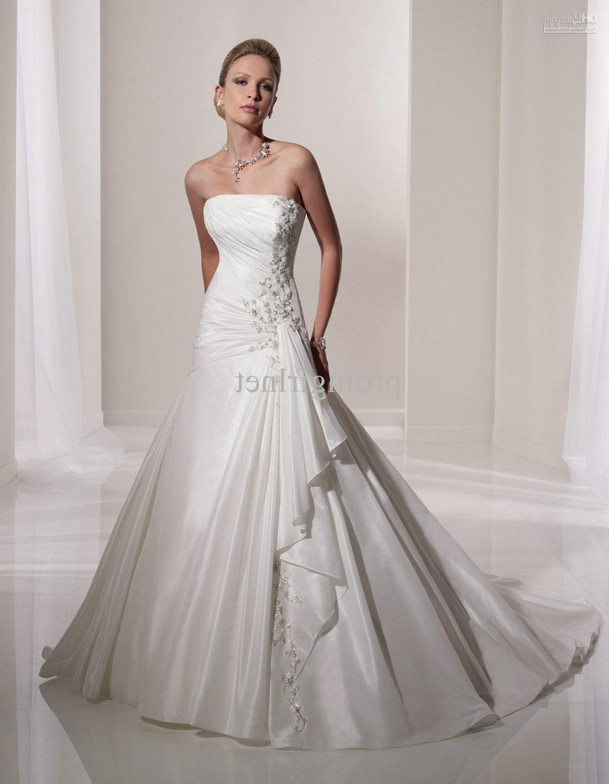 Wholesale Popular elegant and simple long train strapless wedding gowns sale
