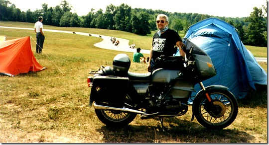 John Flora with his 1981 R100RS at Grattan Speedway near Grand Rapids, Mich., the weekend of July 4, 1987. Flora made the long weekend ride to the Mackinac Straits bridge and back with Tim and Linda Balough and Doug Poucher.