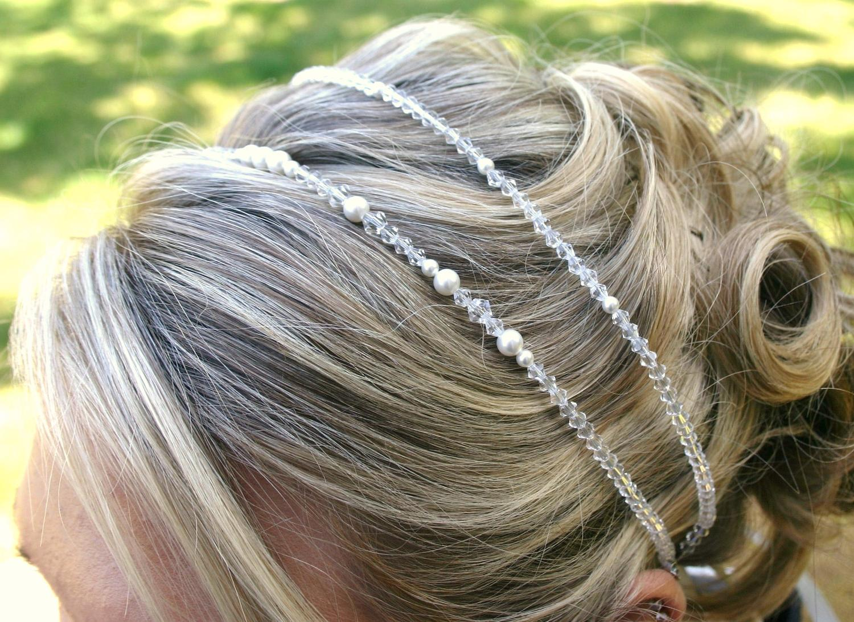 Wedding Headband- Crystal and Pearl Headband - Bridal Tiara - Beaded