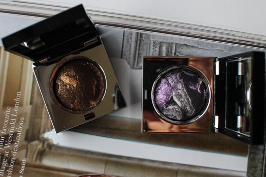 Bobbi-Brown-Sequin-Eye-Shadow-StarBeam-bronze-Constellation-purple-swatches