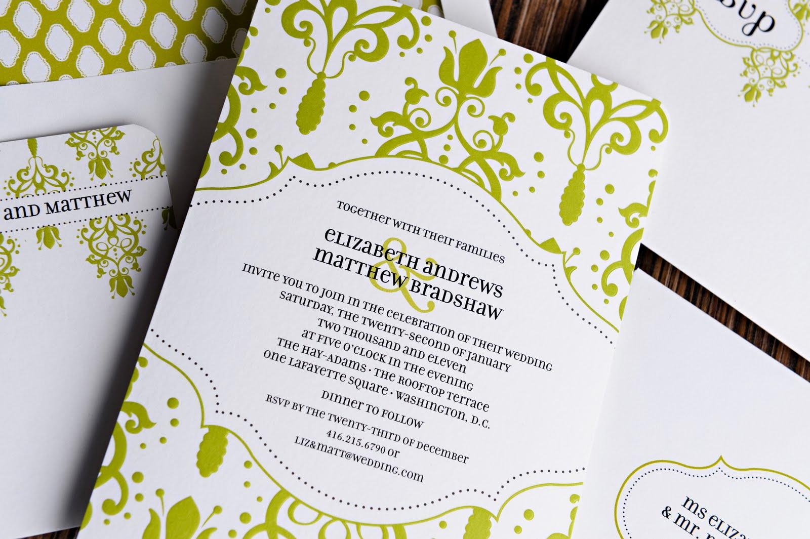 white green wedding invitation