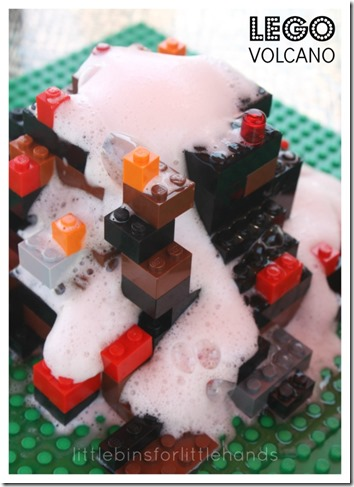 Lego Volcano Science Experiment - Kids are going to love not only building a lego volcano, but seeing it erupt with this very cool science experiment for kids in Kindergarten, 1st grade, 2nd grade, 3rd grade, and 4th grade (homeschool, science)