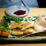 fried Tai (red snapper) at Zauo self-fishing restaurant in Shinjuku, Tokyo - Japan in Shinjuku, Tokyo, Japan
