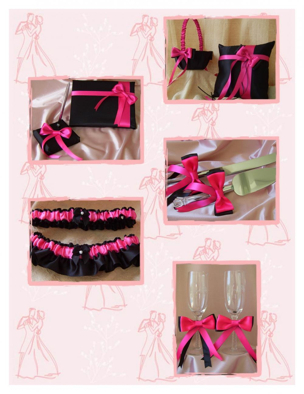 Black and hot pink wedding colors 10pc set